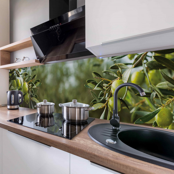 Kitchen Panel Green Olives Tree