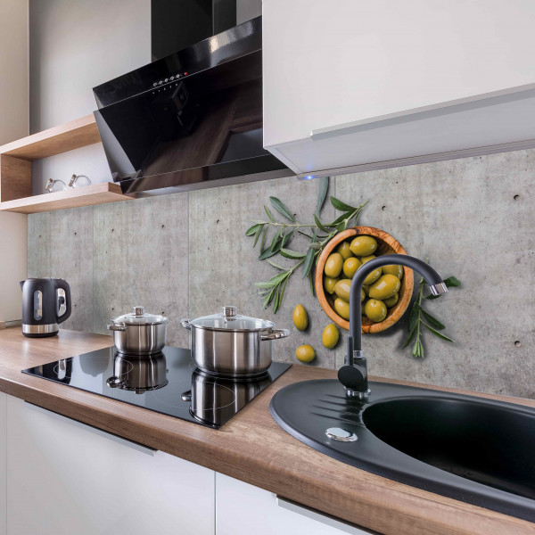 Kitchen Panel Olive and Concrete